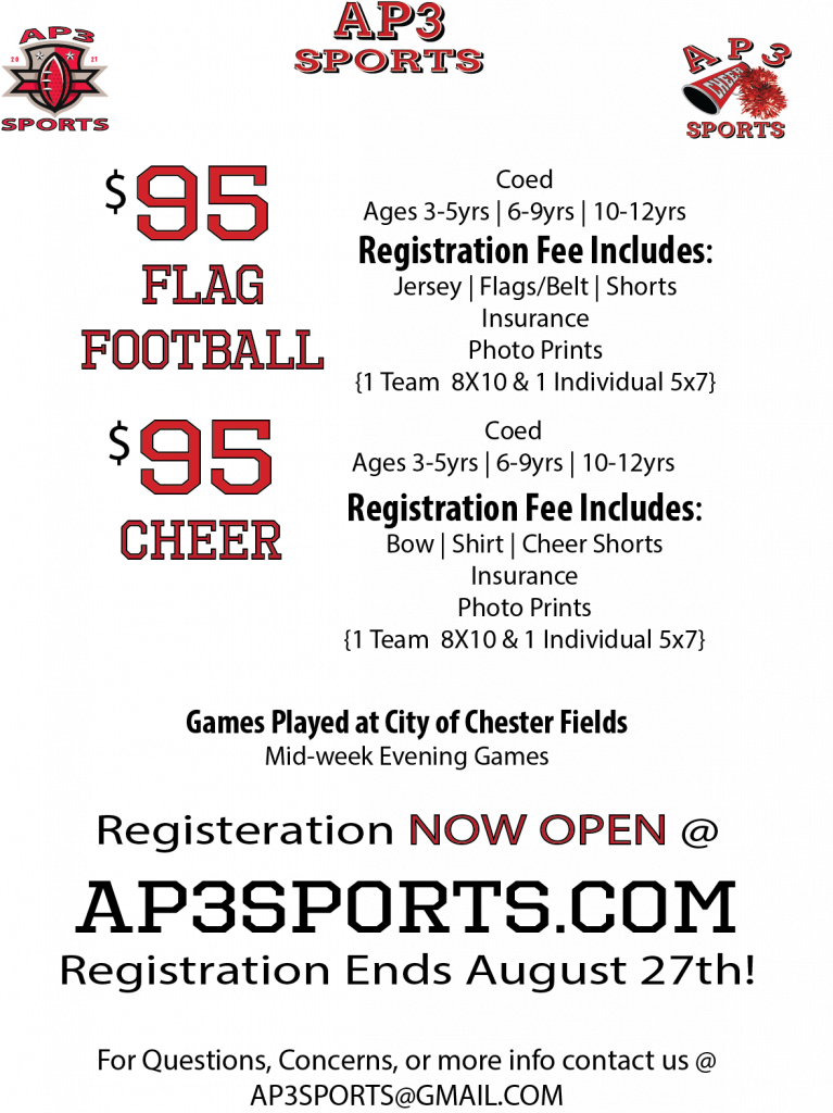 chester flag football and cheer ap3sports